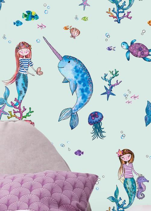 Wallpaper Pepita Matt Fishes Corals Mermaids Narwhals Jellyfish Pale blue Blue Green Pastel yellow Silver grey glitter Violet