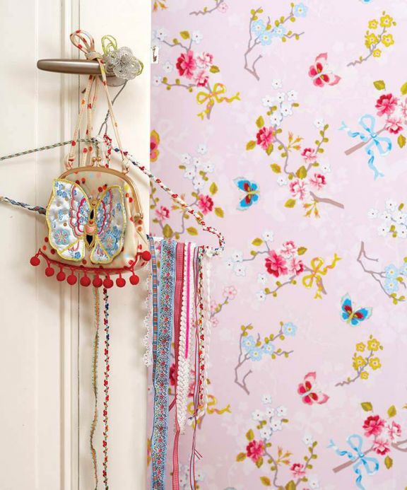 Papier peint floral Papier peint Benina rosé clair Vue pièce