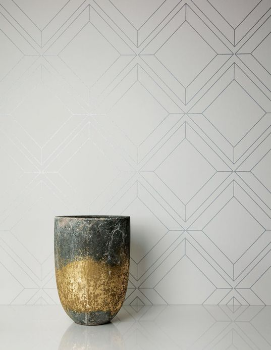 Geometric Wallpaper Wallpaper Malekid grey white Room View
