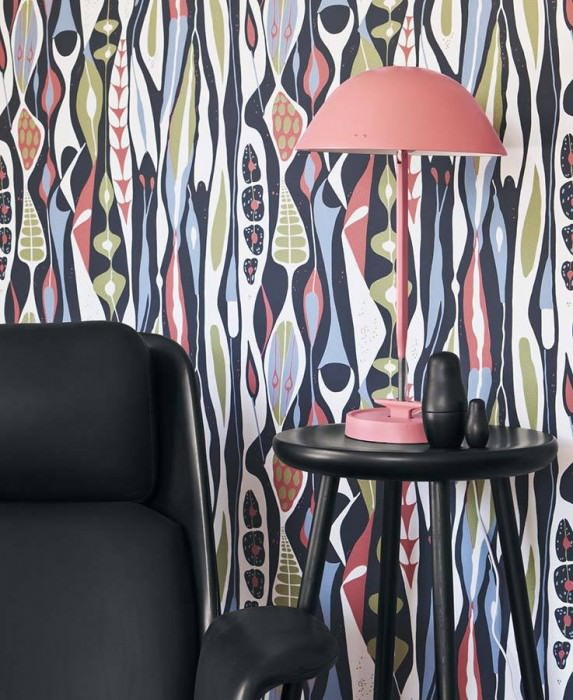 Wallpaper Anu Matt Abstract flora Black grey Pale red Yellow olive Light grey blue White