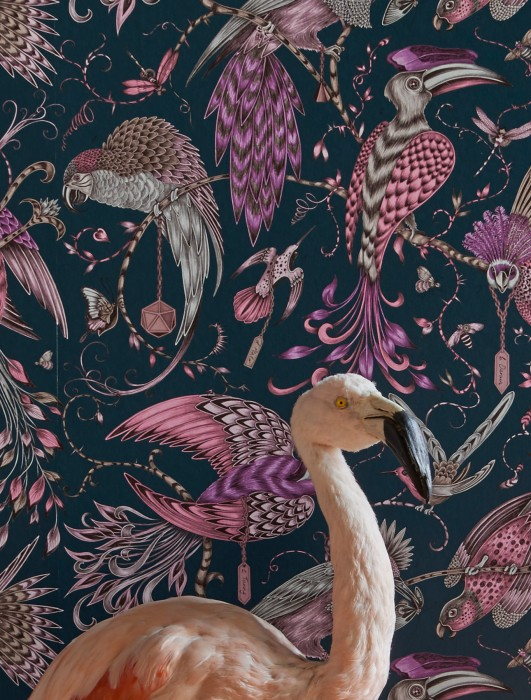 Wallpaper Volturi Matt Bugs Tendrils & branches Birds Ocean blue Pale brown Rose Silver shimmer Violet