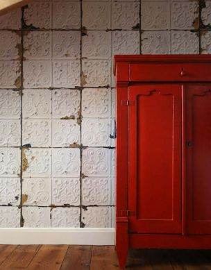 Papel pintado Brooklyn Tins 02 blanco Ver habitación