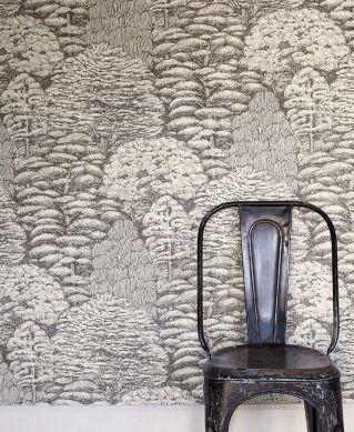 Papel pintado Roderik gris parduzco Ver habitación
