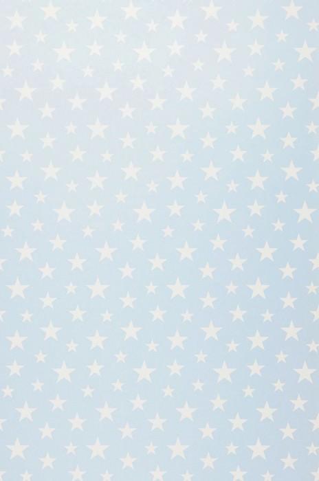 Papier peint Little Stars Mat Étoiles Bleu clair Blanc crème