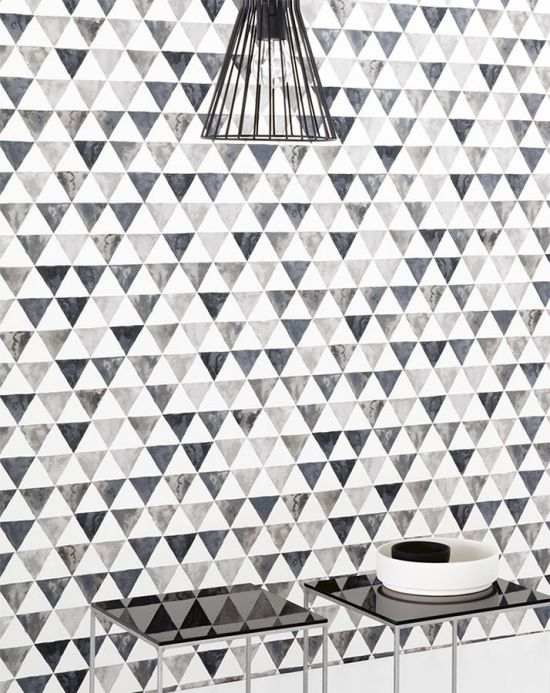 Geometric Wallpaper Wallpaper Masell grey tones Room View
