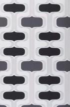 Wallpaper Sankus Matt Retro ornaments White Dark grey Black Silver