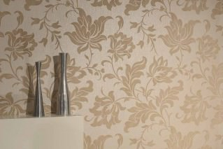 Wallpaper Pontos Matt pattern Shimmering base surface Stylised flowers Light ivory shimmer Light grey beige