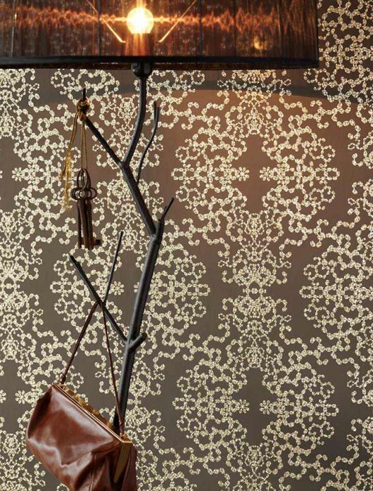 Archiv Wallpaper Anahita white gold lustre Room View