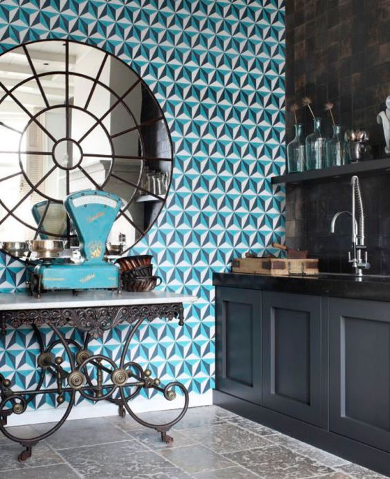 Papel pintado geométrico Papel pintado Limal azul océano Ver habitación