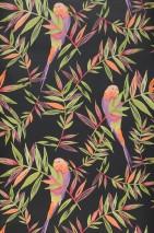 Wallpaper Isadora Matt Leaves Birds Black Light green Raspberry red Orange Violet