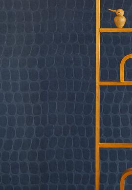 Papel de parede Croco Velvet azul aço Raumansicht