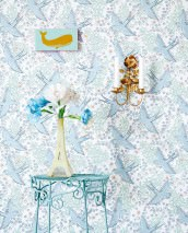 Wallpaper Marianella Matt Leaves Flowers Birds White Light green Light pink Pastel blue Pearl violet