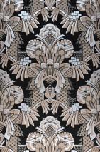 Papier peint Demetrius Mat Art Déco Éléments graphiques Anthracite Beige gris Gris foncé nacré Argenté brillant