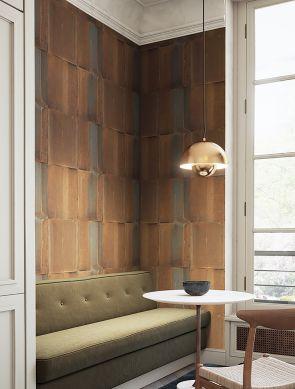 Papel pintado Runar marrón anaranjado Ver habitación