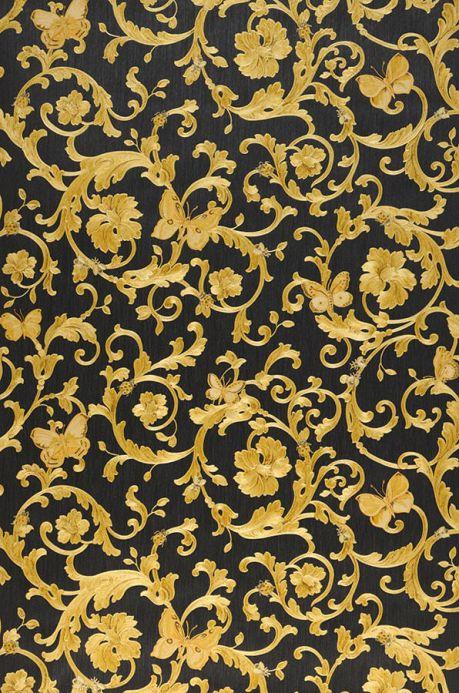 Carta da parati damascata Carta da parati Glory giallo oro scintillante Larghezza rotolo