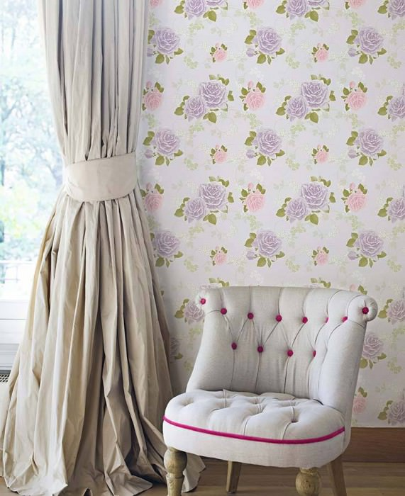 Wallpaper Isotta Matt Roses Pale lavender Pale violet Green Light pink White