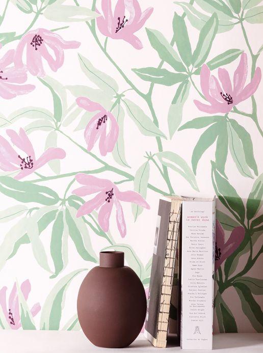 Floral Wallpaper Wallpaper Tarbana pastel violet Room View