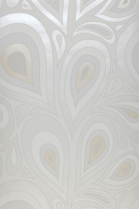 Wallpaper Celestia Matt Retro elements Stylised leaves White Cream shimmer Grey white Light ivory shimmer