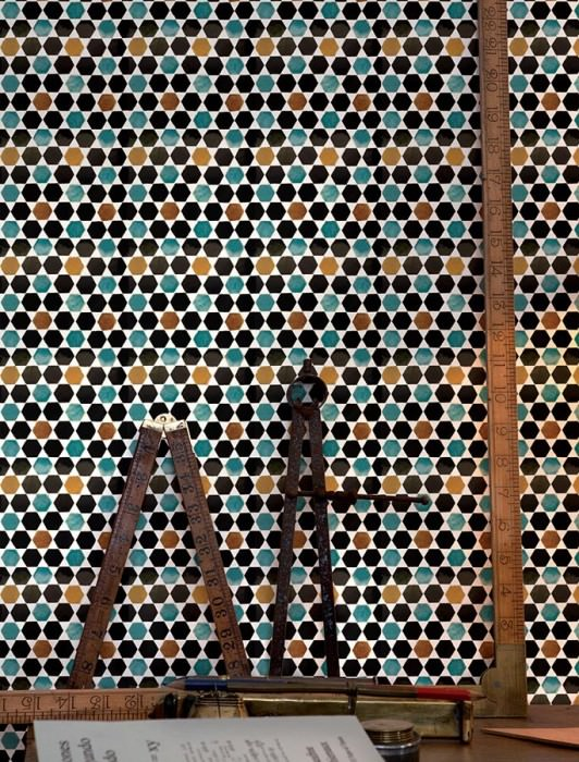 Wallpaper Flamenco Shimmering Imitation tiles Cream Maize yellow Black brown Turquoise blue