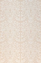 Wallpaper Rosmery Hand printed look Matt Art nouveau damask Light grey beige White