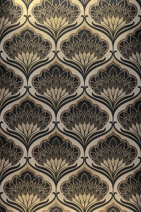 Wallpaper Perdula Matt pattern Iridescent base surface Floral damask Grey beige Brown Black