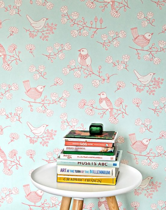 Wallpaper Sugar Tree Hand printed look Matt Flowers Birds Pale light green Antique pink Cream