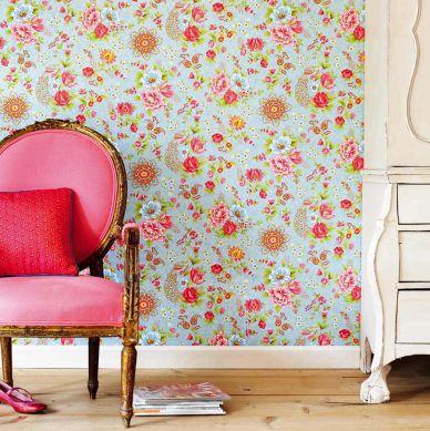 Papel pintado Ludmilla turquesa pastel Ver habitación