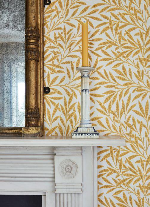 Papel pintado rústico Papel pintado Chateau amarillo oro Ver habitación