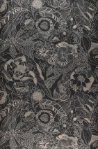 Wallpaper Welamie Matt Leaves Blossoms Black grey Cream Grey aluminium