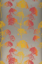 Wallpaper Emorie Matt Field flowers Pearl beige Yellow Raspberry red Orange