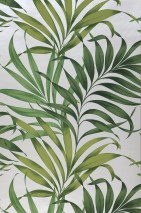 Wallpaper Paradiso Matt pattern Shimmering base surface Leaves Oyster white Fern green Light green Olive green