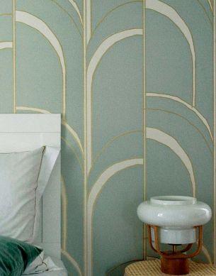 Papel pintado Arches turquesa menta claro Ver habitación