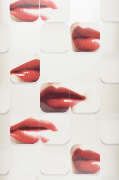 Papel pintado Lips Brillante Labios Blanco crema Blanco ostra Beige parduzco pálido Marrón caoba Rojo Rojo vino