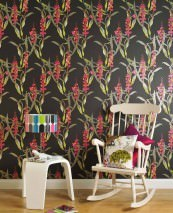 Wallpaper Geckos Matt Geckos Butterflies Tropical plants Black Orange Pink Reed green White aluminium