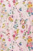 Wallpaper Megara Shimmering pattern Matt base surface Flowers Light pink Blue Yellow Green Oyster white Red
