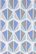 Carta da parati Reny Opaco Elementi retro Bianco grigiastro Grigio beige Blu brillante Beige grigiastro Turchese pastello