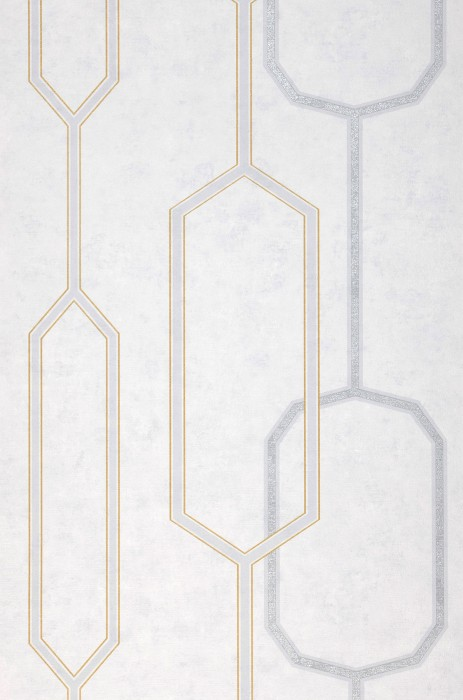 Wallpaper Osalli Matt Graphic elements Grey white Light grey Matt gold Pearl light grey