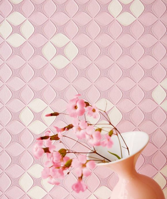 Archiv Wallpaper Korsal pastel light pink Room View