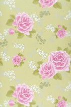 Papel pintado Isotta Mate Rosas Verde amarillento Violeta rojizo pálido Blanco
