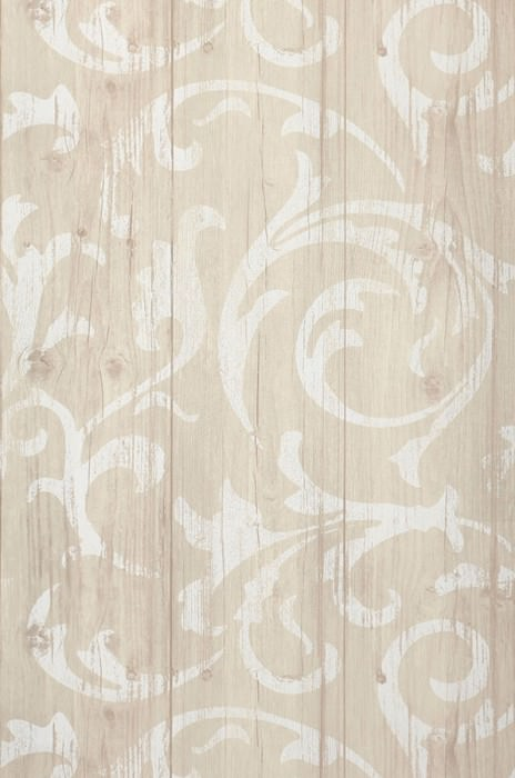 Wallpaper Medusa Wood Matt Old wooden boards Baroque damask Pale beige grey Grey white White