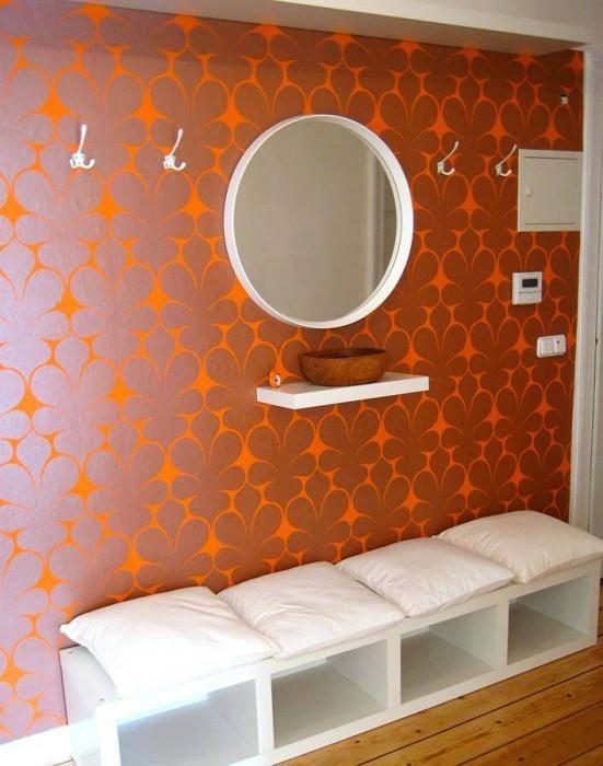 Wallpaper Velusa Shimmering pattern Matt base surface Modern damask Orange Copper brown