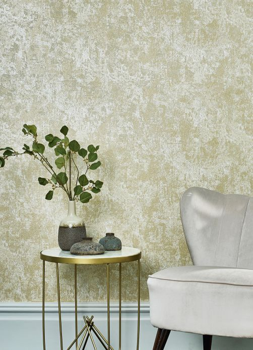 Stone Wallpaper Wallpaper Plaster Effect gold shimmer Room View