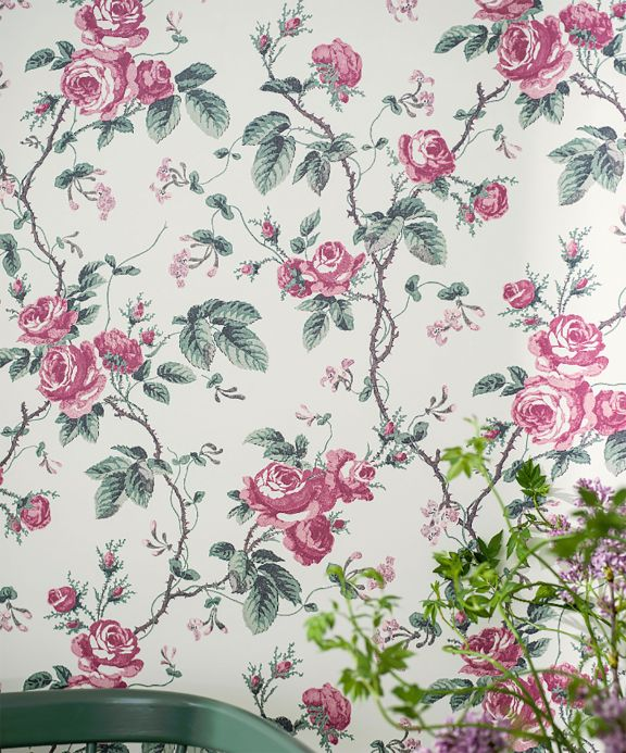 Floral wallpaper Wallpaper Corletta claret coloured Room View