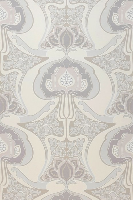 Wallpaper Tereza Matt Retro design Stylised flowers Grey beige Pale grey beige Cream Grey white White