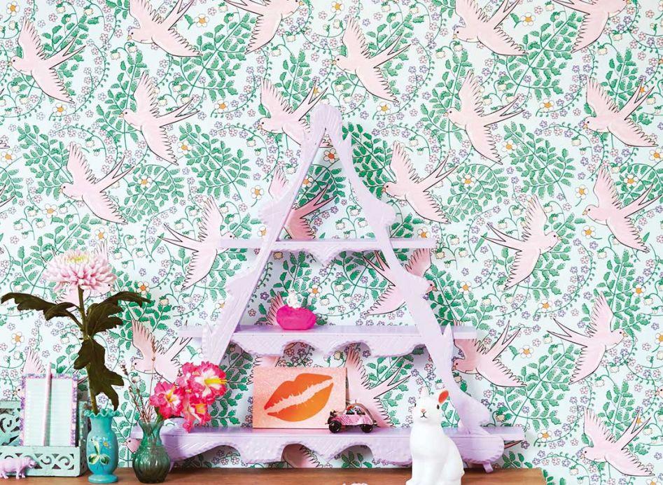Papier peint avec des animaux Papier peint Marianella vert pastel Vue pièce