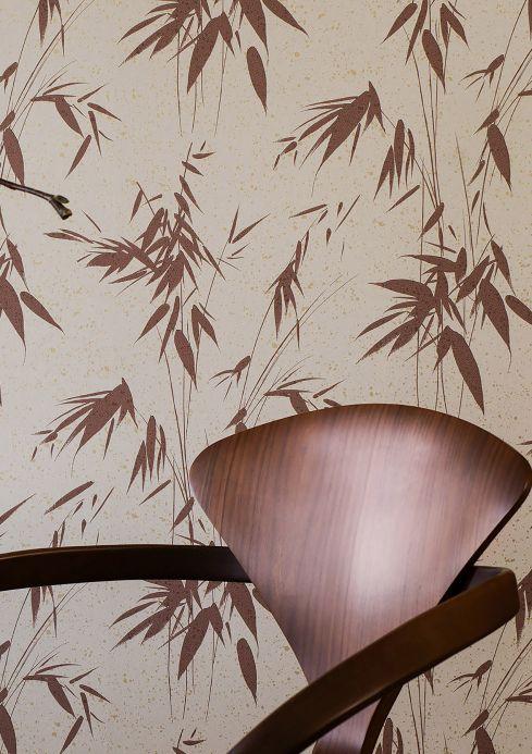 Papel pintado moderno Papel pintado Jaipur marrón Ver habitación