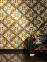 Wallpaper Vincenza Matt Baroque damask Imitation fur Cream Brown tones Bronze shimmer