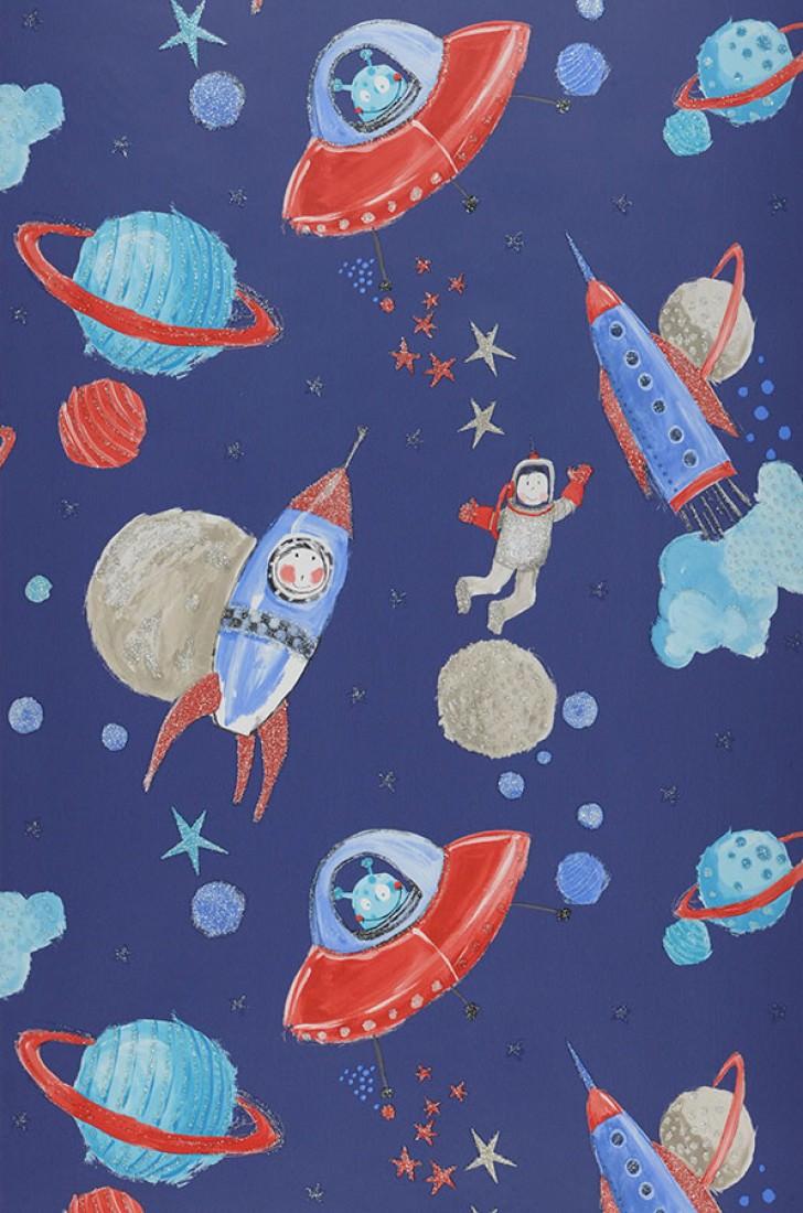 Papel pintado luitpoldo azul oscuro beige gris ceo rojo azul turquesa papeles de los 70 - Papel pintado de los 70 ...