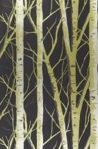 Papel de parede Diomedes Padrão brilhante Superfície base mate Árvores Marrom acinzentado verde amarelado pérola lustre Ouro