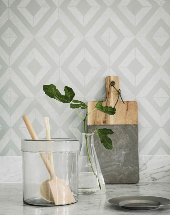 Wallpaper Lauka Matt Rhombuses Pale grey green Grey white